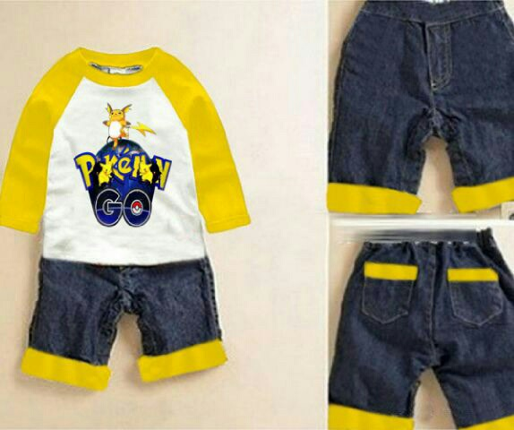 Setelan Baju Anak Laki-laki Gambar Pokemon Keren Model Terbaru