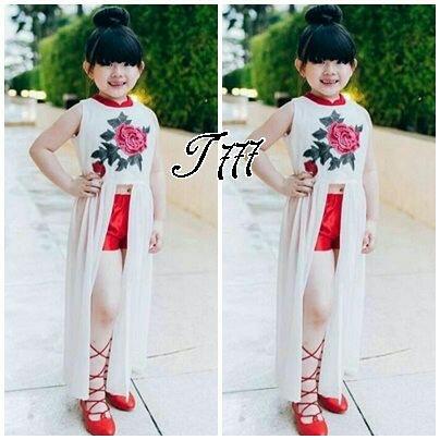 Setelan Baju Chinese dan Celana Pendek Anak Perempuan Model Terbaru