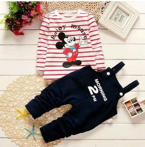 Setelan Baju Jumpsuit Anak Laki-laki Gambar Kartun Mickey Mouse