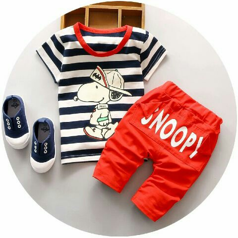 Setelan Baju Kaos dan Celana Pendek Anak Laki-laki Motif Belang