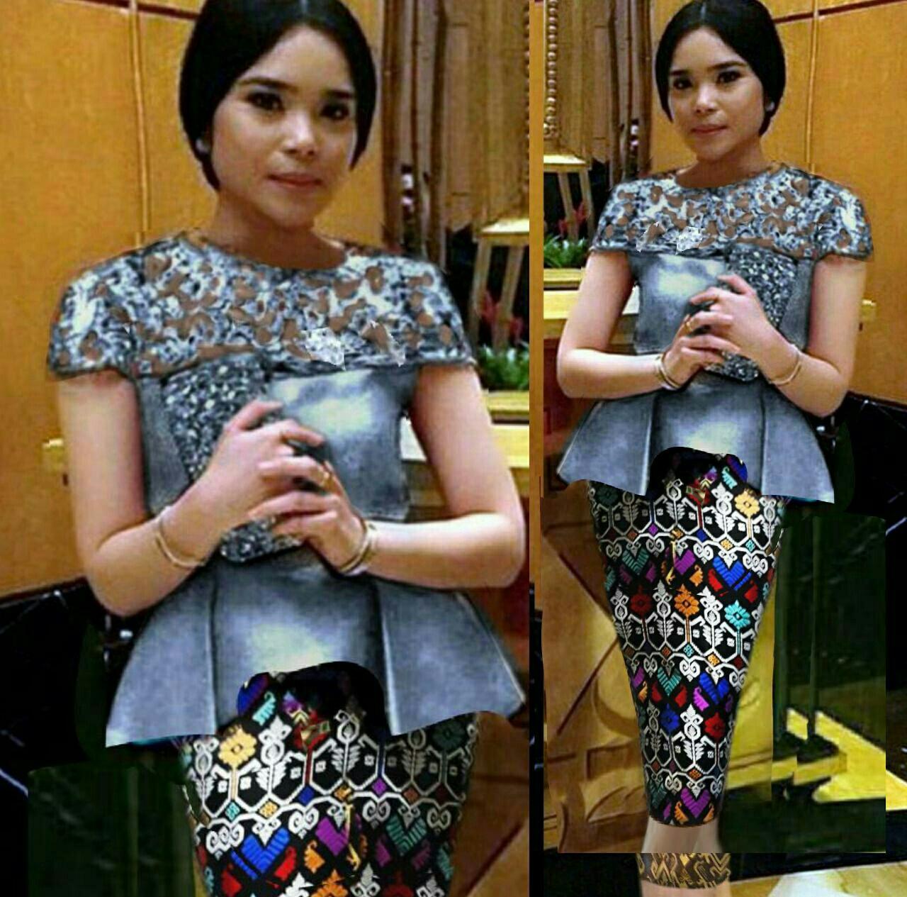 Setelan Baju Kebaya Brukat Dan Rok Pendek Modern Model Terbaru
