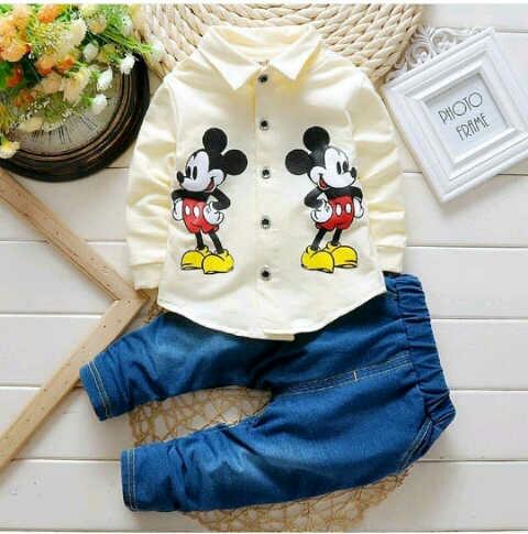 Setelan Baju Kemaja dan Celana Panjang Anak Laki-laki Gambar Mickey