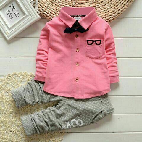 Setelan Baju Kemeja dan Celana Panjang Anak Laki-laki Keren