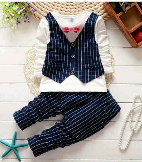 Setelan Baju Rompi dan Celana Panjang Anak Laki-laki Keren Modern