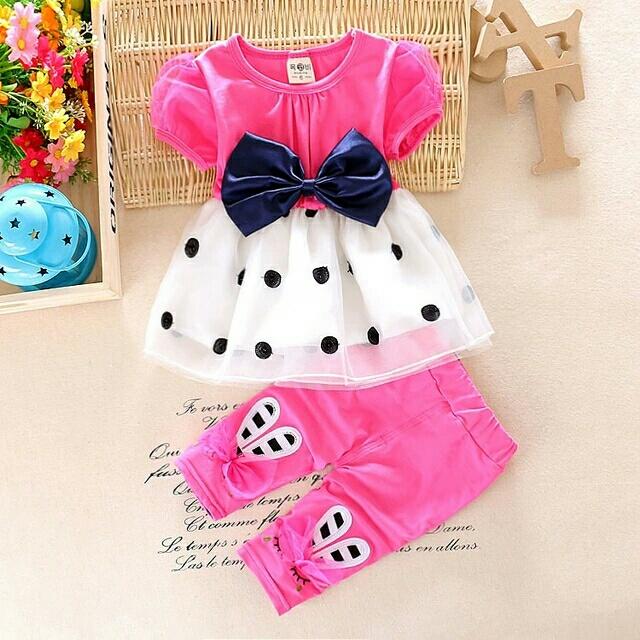 Setelan Baju dan Celana Anak Perempuan Warna Pink Cantik Lucu