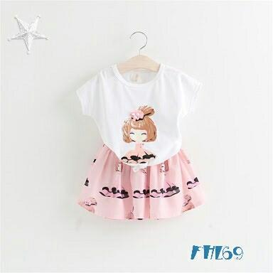 Setelan Baju dan Rok Mini Pendek Anak Perempuan Warna Pink