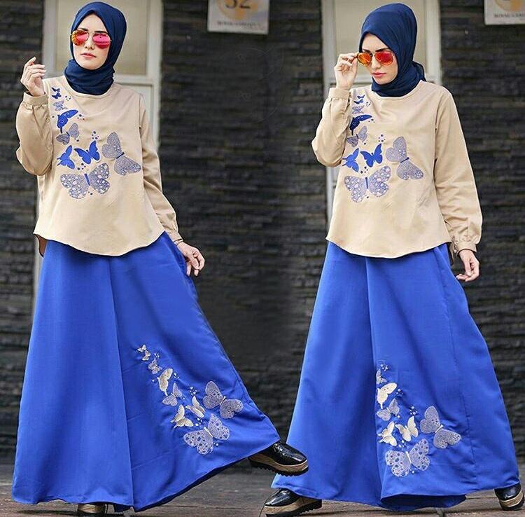 Setelan Hijab Modis 3 In 1 Baju Dan Celana Kulot Model Terbaru