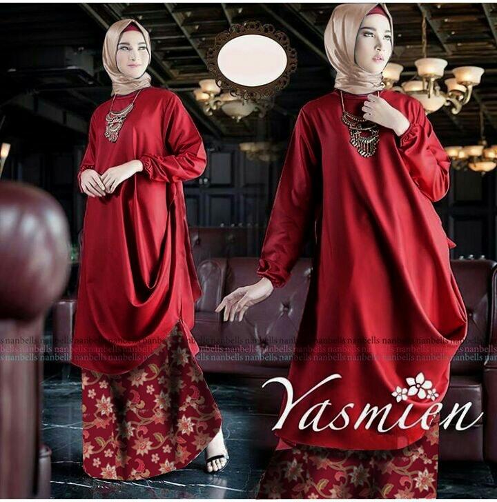 Batik Keris Warna Merah: Setelan Hijab Modis Baju Tunik Dan Rok Batik Songket