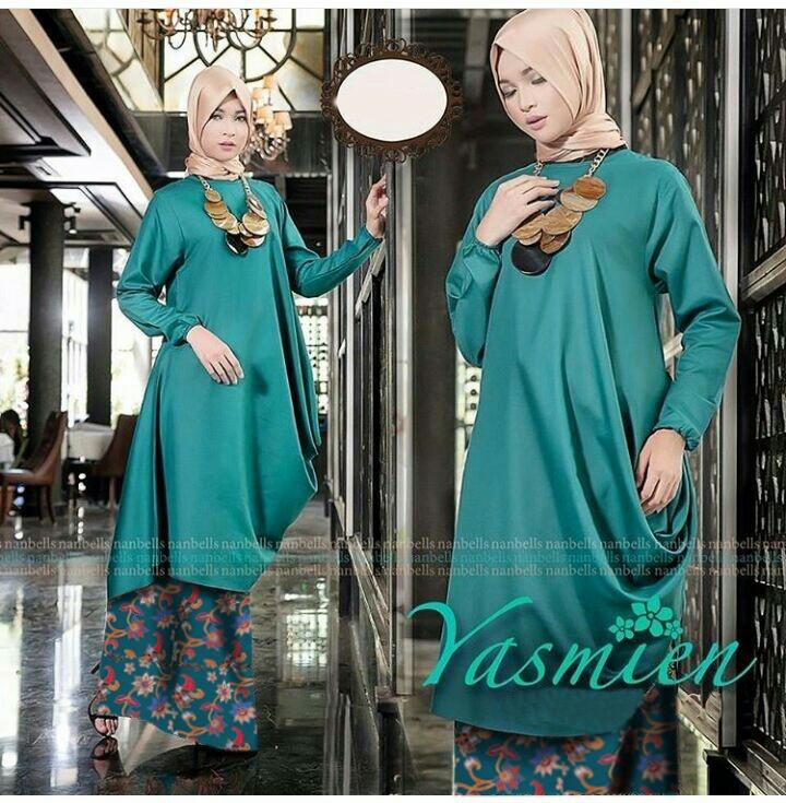 Setelan Hijab Modis Baju Tunik Dan Rok Batik Songket Modern