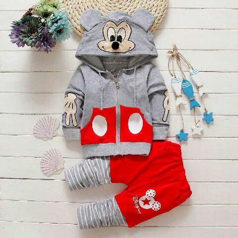 Setelan Jaket Anak Laki-laki Gambar Mickey Mouse Model Terbaru