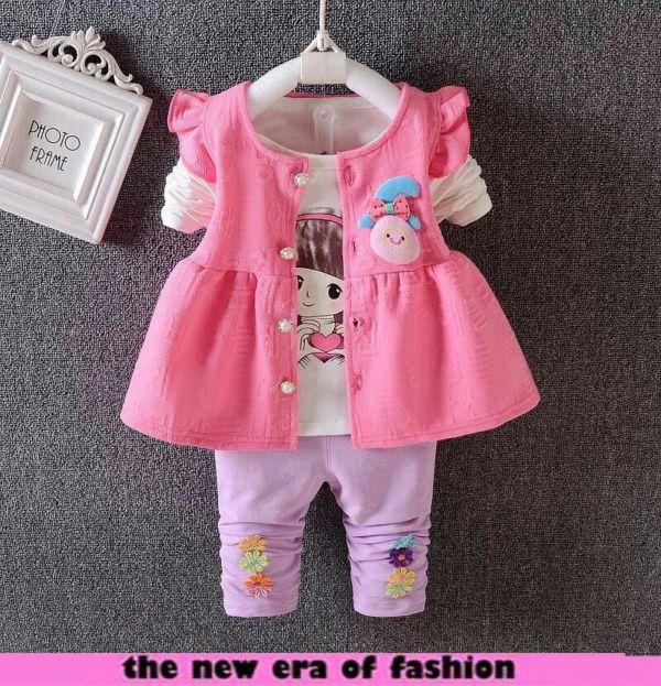 Setelan Terbaru 3 in 1 Baju Outer dan Celana Panjang Anak Perempuan