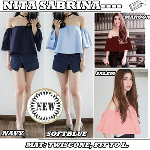 Baju Atasan Wanita Model Sabrina Lengan Pendek Terbaru 2017
