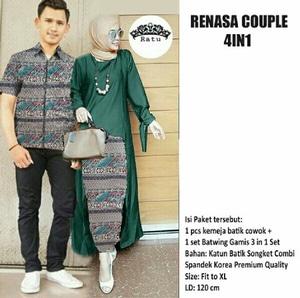 Baju Couple Batik Setelan Kutubaru Hijab Modern Model Terbaru