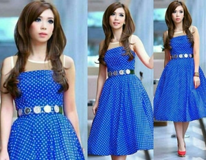 Baju Dress Gaun Pendek Simple Motif Polkadot Lengan Buntung