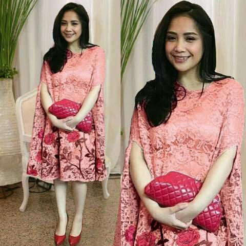 Baju Dress Pendek Kaftan Nagita Bahan Brukat Model Terbaru