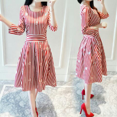 Baju Dress Pendek Motif Belang Merah Cantik Model Terbaru