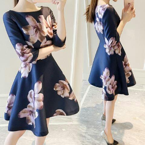 Baju Dress Pendek Wanita Dewasa Gambar Bunga Cantik Terbaru