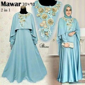 Baju Gamis Long Dress Cape Muslim Bordir Cantik Model Terbaru