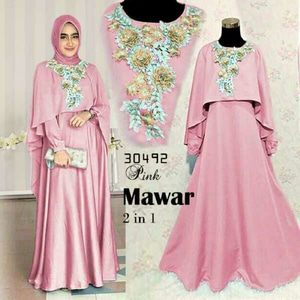 Baju Gamis Long Dress Cape Muslim Bordir Cantik Model Terbaru