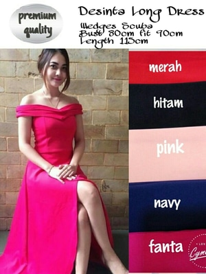 Baju Gaun Long Dress Model Sabrina Cantik Modern Terbaru