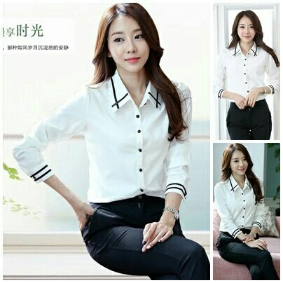 Baju Hem Kerja Wanita Warna Putih Lengan Panjang Modern