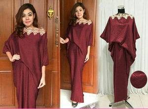 Baju Long Dress Gaun Kaftan Pesta Saten Bordir Cantik Modern