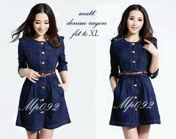 Baju Mini Dress Denim Dewasa Cantik Modern Model Terbaru