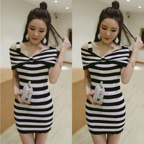Baju Mini Dress Pendek Motif Salur Belang Ala Fashion Korea