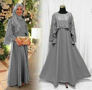Model Baju Gamis Long Dress Muslim Cape Brukat Modern Terbaru Ryn