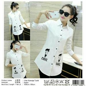 Model Baju Hem Tunik Warna Putih Lengan Panjang Terbaru