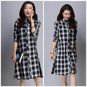 Model Baju Kemeja Wanita Motif Kotak-kotak Lengan Panjang