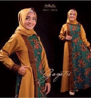 Model Baju Setelan Long Dress Muslim Gamis Batik Modern Terbaru