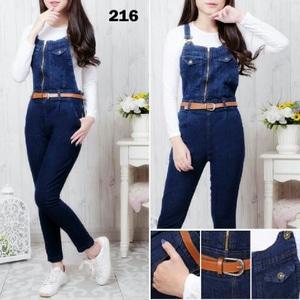 Setelan Baju Jumpsuit Celana Kodok Jeans Panjang Modern