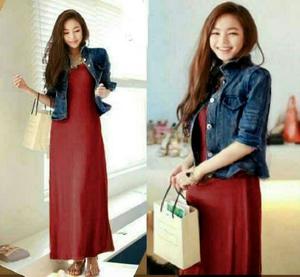 Setelan Baju Long Dress Panjang & Cardigan Jaket Jeans Modern