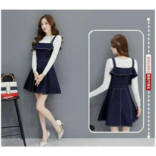 Setelan Baju Mini Dress Overall Pendek Modern Model Terbaru