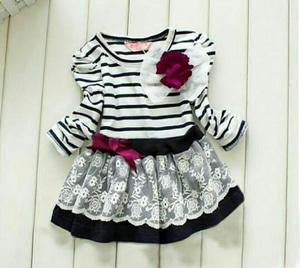 Baju Dress Anak Perempuan Model Terbaru Motif Belang Cantik