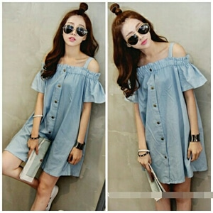 Baju Dress Model Sabrina Bahan Denim Cantik Modern Terbaru