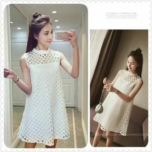 Baju Dress Pendek Brukat Putih Motif Cantik Ala Korea Model Terbaru