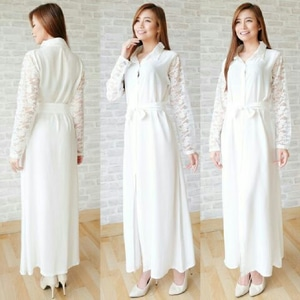 Baju Gaun Long Dress Lengan Panjang Warna Putih Cantik