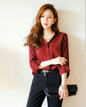 Baju Kemeja Wanita Polos Warna Merah Maroon Modern