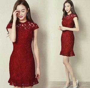 Baju Mini Dress Brukat Pendek Warna Merah Maroon Cantik