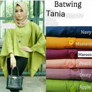 Model Baju Atasan Kalong Batwing Lengan Panjang Hijab Terbaru