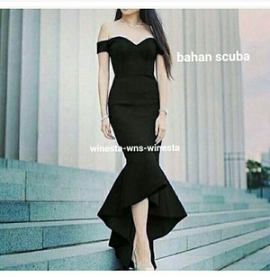 Model Baju Gaun Long Dress Maxy Pesta Model Sabrina Terbaru