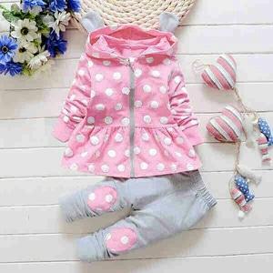 Setelan Baju Jaket Celana Panjang Anak Perempuan Warna Pink
