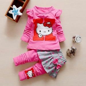 Setelan Baju Kaos Lengan Panjang & Celana Panjang Anak Perempuan