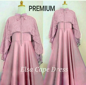 Baju Gaun Long Dress Cape Brukat Cantik Modern Model Terbaru