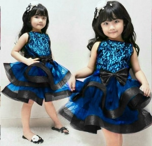 Baju Dress Anak Perempuan Bahan Brukat Kombinasi Tile Cantik