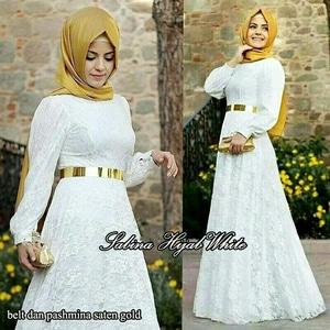 Baju Gamis Wanita Modern Warna Putih Bahan Brukat Cantik