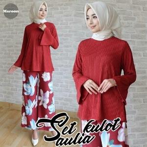 Baju Muslim Wanita Setelan Celana Kulot Motif Bunga Model Terbaru