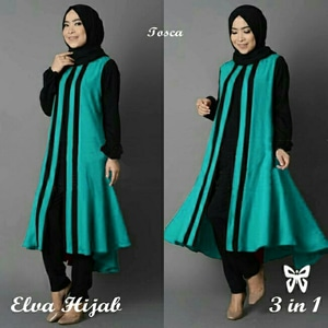 Baju Muslim Wanita Setelan Hijab Tunik & Celana Modis Model Terbaru